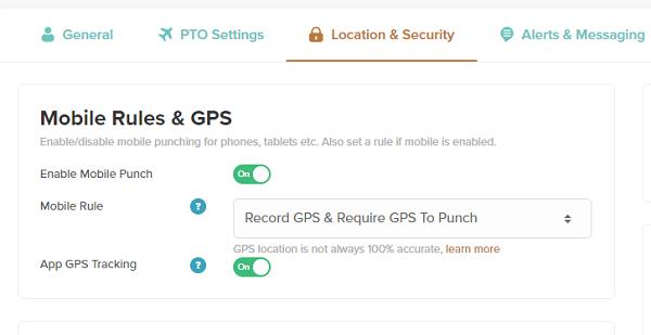 Live GPS tracking settings